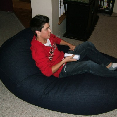 Poly/cotton protective cover for denim beanbag